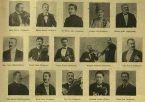 A Népszínház czigányprímás versenyének aranyérmesei, köztük Pege Károllyal